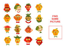 Cartoon  Illustration of Finding the Same Picture.  Educational Royalty Free Stock Photos
