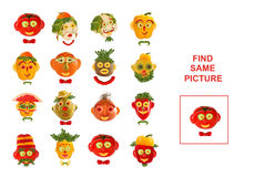 Cartoon  Illustration of Finding the Same Picture.  Educational Stock Photo