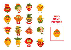 Cartoon  Illustration of Finding the Same Picture.  Educational Royalty Free Stock Photography