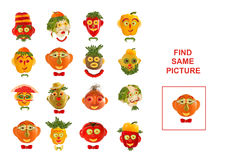 Cartoon  Illustration of Finding the Same Picture.  Educational Royalty Free Stock Image
