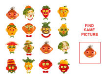 Cartoon  Illustration of Finding the Same Picture.  Educational. Game for Preschool Children Stock Image