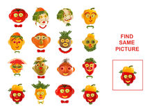 Cartoon  Illustration of Finding the Same Picture.  Educational. Game for Preschool Children Royalty Free Stock Images