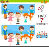 Differences game with children characters. Cartoon Illustration of Finding Seven Differences Between Pictures Educational Activity Game for Children with Boys Stock Photos