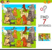 Find differences game with dogs animal characters. Cartoon Illustration of Finding Seven Differences Between Pictures Educational Activity Game for Children with Stock Photos