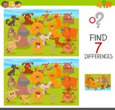 Find differences game with dogs animal characters. Cartoon Illustration of Finding Seven Differences Between Pictures Educational Activity Game for Children with Royalty Free Stock Photo