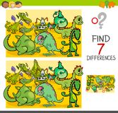 Find differences with dragon fantasy characters. Cartoon Illustration of Finding Seven Differences Between Pictures Educational Activity Game for Children with Stock Images