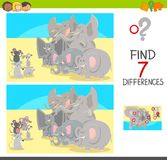 Find differences game with animal characters. Cartoon Illustration of Finding Seven Differences Between Pictures Educational Activity Game for Children with Royalty Free Stock Image
