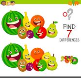 Differences game with fruit characters. Cartoon Illustration of Finding Seven Differences Between Pictures Educational Activity Game for Children with Fruits vector illustration