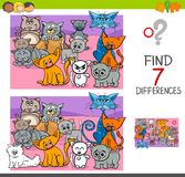 Find differences game with cats animal characters. Cartoon Illustration of Finding Seven Differences Between Pictures Educational Activity Game for Children with Royalty Free Stock Photography