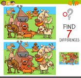 Find differences game with dogs animal characters. Cartoon Illustration of Finding Seven Differences Between Pictures Educational Activity Game for Children with Royalty Free Stock Photos