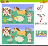 Differences game with funny farm animals. Cartoon Illustration of Finding Seven Differences Between Pictures Educational Activity Game for Children with Funny Royalty Free Stock Image