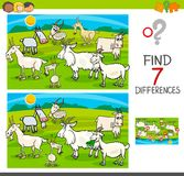 Find differences game with goats animal characters. Cartoon Illustration of Finding Seven Differences Between Pictures Educational Activity Game for Children Stock Photo