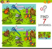 Find differences with insects animal characters group. Cartoon Illustration of Finding Seven Differences Between Pictures Educational Activity Game for Children Stock Photos