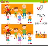 Differences game with kid characters. Cartoon Illustration of Finding Seven Differences Between Pictures Educational Activity Game for Children with Kids Royalty Free Stock Photo