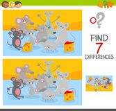 Find differences game with mice animal characters. Cartoon Illustration of Finding Seven Differences Between Pictures Educational Activity Game for Children with Royalty Free Stock Photo