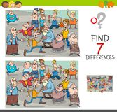 Find differences game with people characters. Cartoon Illustration of Finding Seven Differences Between Pictures Educational Activity Game for Children with Stock Photo
