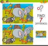 Find differences game with wild animal characters. Cartoon Illustration of Finding Seven Differences Between Pictures Educational Activity Game for Children with Royalty Free Stock Image