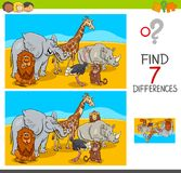 Find differences game with safari animals. Cartoon Illustration of Finding Seven Differences Between Pictures Educational Activity Game for Kids with African Royalty Free Stock Photo