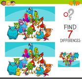 Find differences with birds animal characters. Cartoon Illustration of Finding Seven Differences Between Pictures Educational Activity Game for Kids with Birds Royalty Free Stock Photos