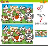 Find differences with cows farm animal characters. Cartoon Illustration of Finding Seven Differences Between Pictures Educational Activity Game for Kids with Royalty Free Stock Photography