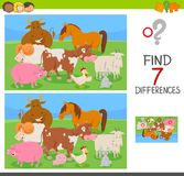 Find differences game with farm animals. Cartoon Illustration of Finding Seven Differences Between Pictures Educational Activity Game for Kids with Farm Animal Stock Photo