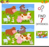 Differences game with farm animals group. Cartoon Illustration of Finding Seven Differences Between Pictures Educational Activity Game for Kids with Farm Animals Royalty Free Stock Images