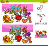 Find differences with insects animal characters. Cartoon Illustration of Finding Seven Differences Between Pictures Educational Activity Game for Kids with Stock Images