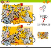 Find differences with mice animal characters. Cartoon Illustration of Finding Seven Differences Between Pictures Educational Activity Game for Kids with Mice Stock Photo