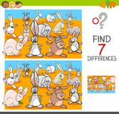 Find differences with rabbits animal characters. Cartoon Illustration of Finding Seven Differences Between Pictures Educational Activity Game for Kids with Stock Images