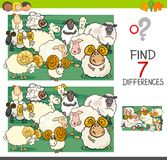Find differences with sheep farm animal characters. Cartoon Illustration of Finding Seven Differences Between Pictures Educational Activity Game for Kids with Royalty Free Stock Image