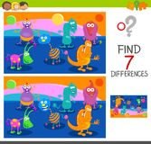 Differences game with monster characters Royalty Free Stock Photos