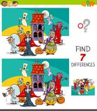 Differences game with spooky Halloween characters. Cartoon Illustration of Finding Seven Differences Between Pictures Educational Game for Children with Spooky stock illustration