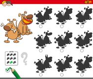 Educational shadow game with dog characters Royalty Free Stock Photography