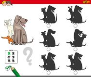 Shadow activity game with dog group. Cartoon Illustration of Finding the Shadow without Differences Educational Activity for Children with Dogs Animal Characters Royalty Free Stock Photography