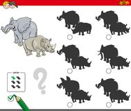 Shadows activity game with wild animals. Cartoon Illustration of Finding the Shadow without Differences Educational Activity for Children with Elephant and Royalty Free Stock Photo