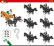 Shadow activity game with farm animals characters. Cartoon Illustration of Finding the Shadow without Differences Educational Activity for Children with Farm Stock Images
