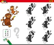 Shadow activity game with cartoon monkeys. Cartoon Illustration of Finding the Shadow without Differences Educational Activity for Children with Monkeys Animal Royalty Free Stock Photos