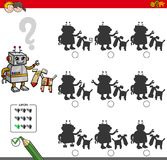 Educational shadow game with robot characters Stock Photography