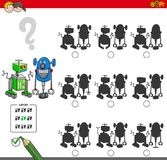 Educational shadow game with robots Royalty Free Stock Image