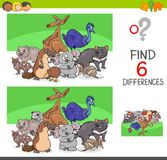 Find differences with funny animal characters. Cartoon Illustration of Finding Six Differences Between Pictures Educational Activity Game for Kids with Funny Royalty Free Stock Images