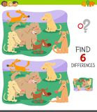 Differences game with cute cartoon dogs royalty free stock images