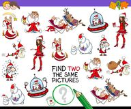 Find two the same Christmas images game. Cartoon Illustration of Finding Two Identical Pictures Educational Activity Game for Children with Funny Christmas Stock Photography