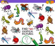 Find two identical cartoon insects game for kids vector illustration