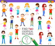 Find two identical kid task for children royalty free stock image