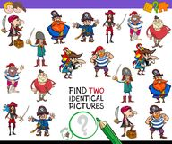 Find two identical cartoon pirates game for kids Royalty Free Stock Photos