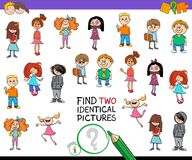Find two identical kids game for children Royalty Free Stock Photos