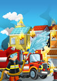 Cartoon illustration with fire fighter and truck at work putting out the fire. Beautiful colorful illustration caricature for the children for different usage Stock Image