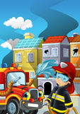 Cartoon illustration with fire fighter and truck at work putting out the fire. Beautiful colorful illustration caricature for the children for different usage Royalty Free Stock Photography