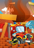 Cartoon illustration with fire fighter and truck at work putting out the fire. Beautiful colorful illustration caricature for the children for different usage Stock Photo