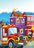 Cartoon illustration with fire fighter and truck at work putting out the fire. Beautiful colorful illustration caricature for the children for different usage Stock Photography